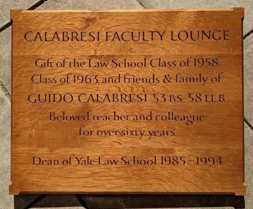 Yale Law School Panel - The Yale Law School dedicated their Faculty Lounge in honor of Guido Calabresi, and asked me to carve this oak panel to mark the occasion.Location: New Haven, CT