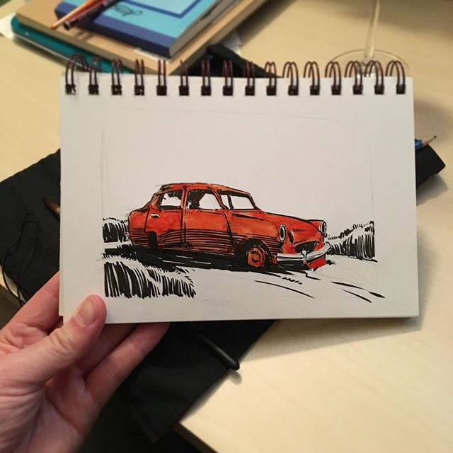 Inktober Day 10: getting some orange back into the mix with this inky car wreck. It's good to have a break from trees, I guess..... 😅 • • • #inktober #inktober2017 #artistsofinstagram #instaartist #sketchbook #pleinair #pleinairpainting #pleinaire #landscape #landscapepainting #instaart #artoftheday #artofinstagram #adelaide #adelaidehills #drawing #painting #photooftheday #nature #dailypainting #photooftheday #ink  #comics #brushpen #cartoon