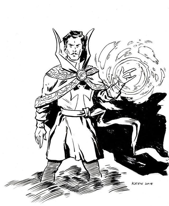 Sunday Dr Strange sketching, the guy sure knows how to rock a pencil moustache. 👨‍🎨 #warmup #practice #comics #ink #inked #art #artoftheday #sketch #sketchbook #artistsofinstagram #cartoon #blackandwhite #traditional #drstrange #marvelcomics