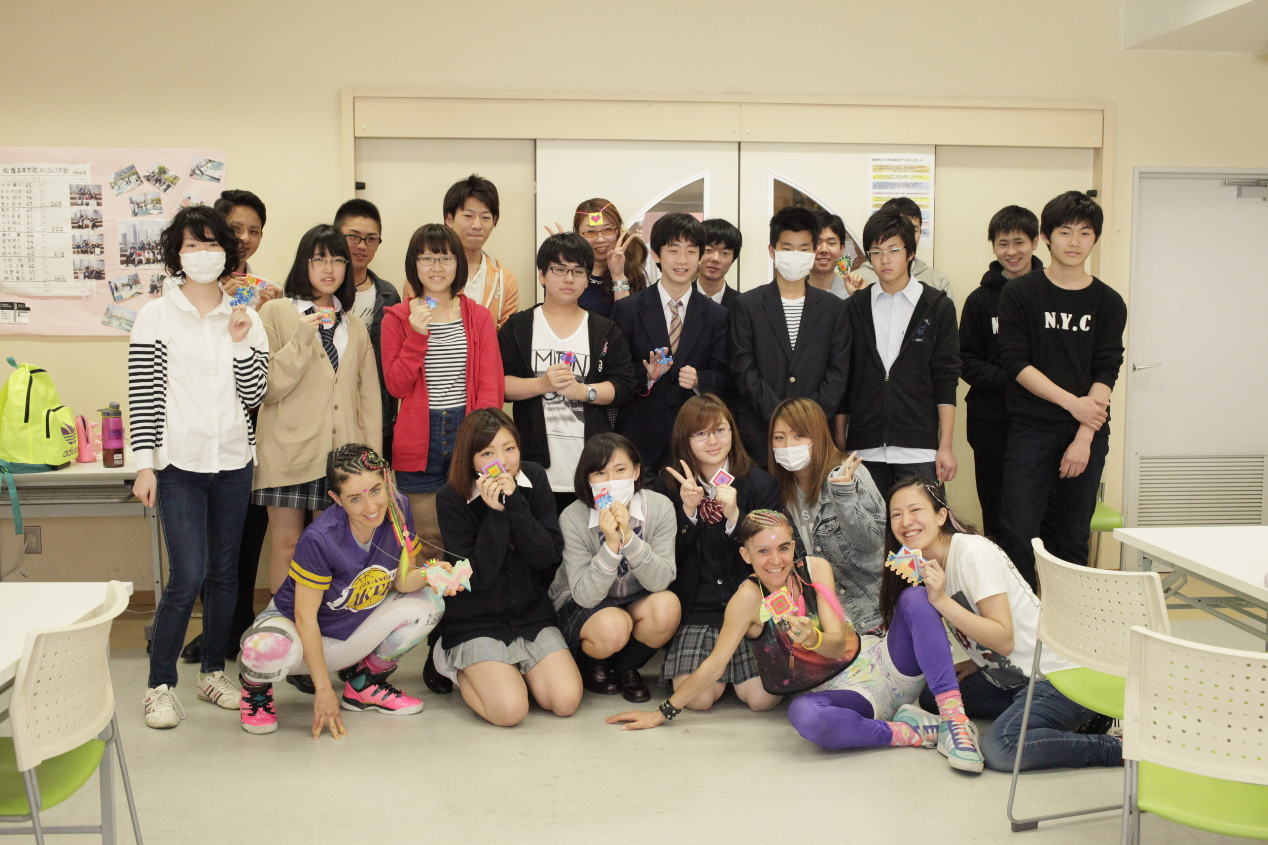 Go! Push Pops Rainbow Warrior Talisman Workshop with High School students in Tokyo, Japan, organized by Seiko Kitayama, 2015