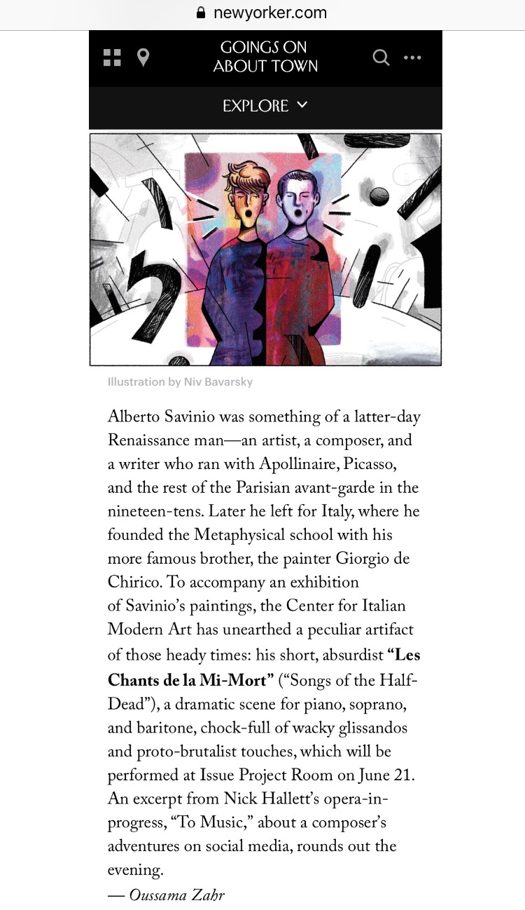 Illustrated in The New Yorker magazine with Lucy Dhegrae for  Les Chants de la Mi-Mort  at Issue Project Room. Illustration by Niv Bavarsky.  www.newyorker.com