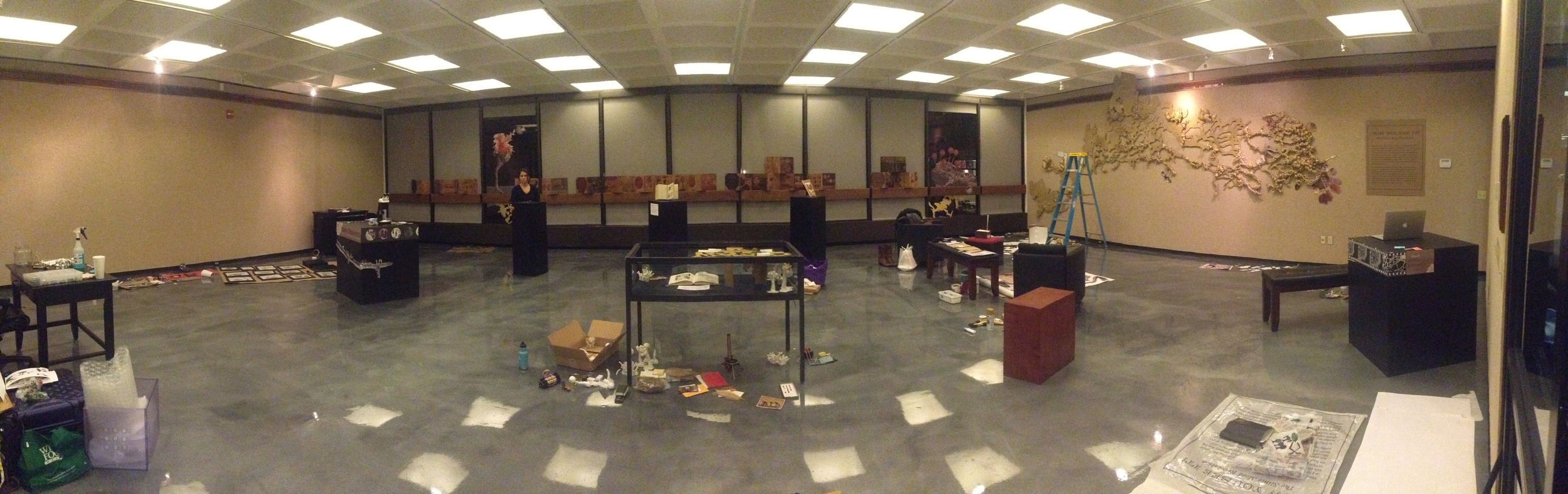 12 hours before the opening lots of stuff was still sprawled on the floor, plus I spilled some honey near my snack pile.
