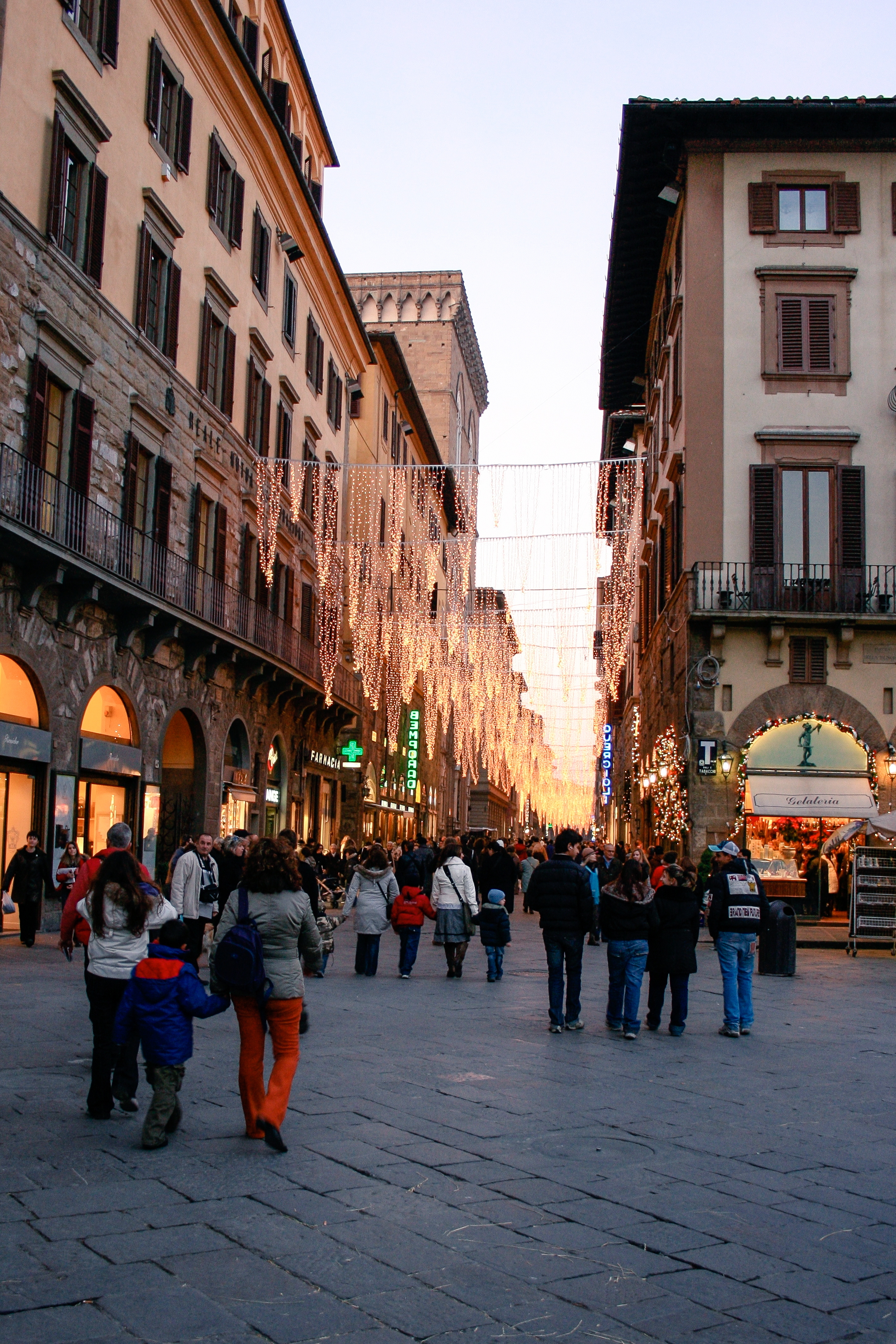 The streets of Florence, festooned with Christmas lights