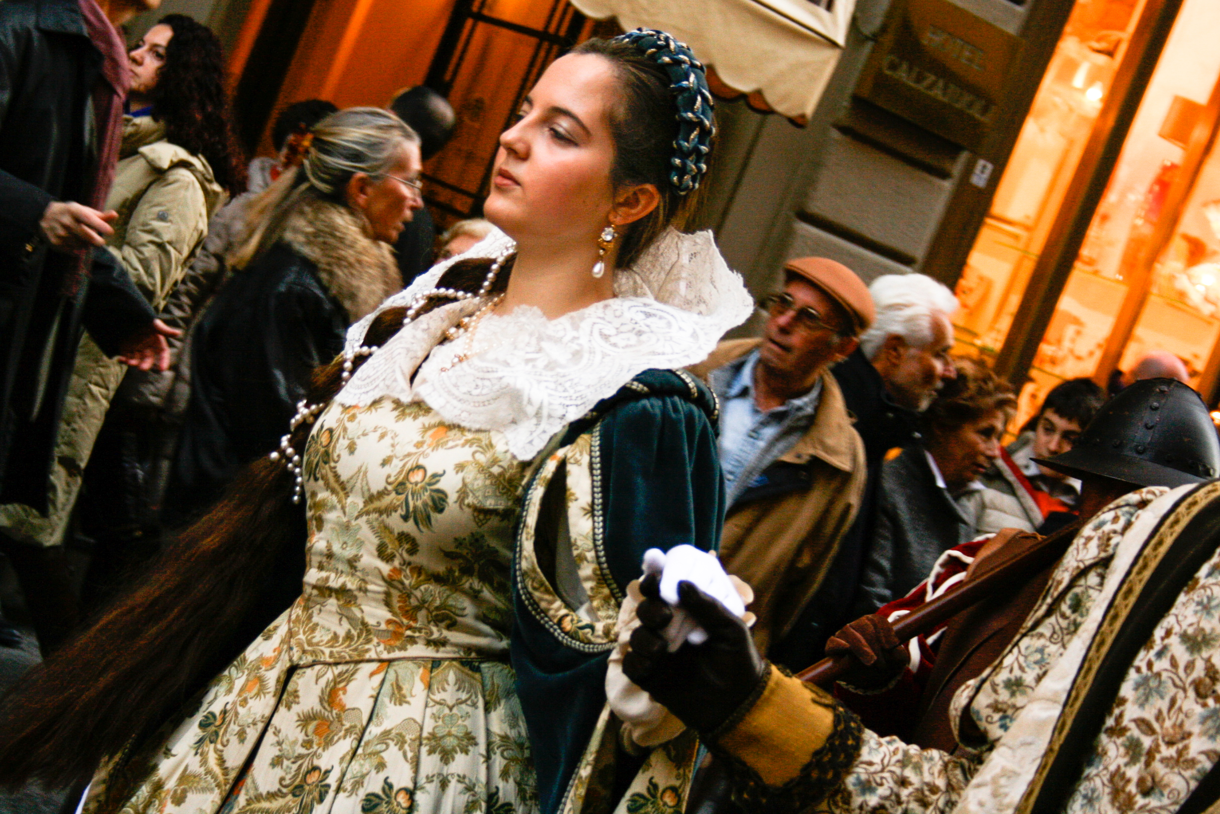 Participants don period costumes and parade through the streets of Florence