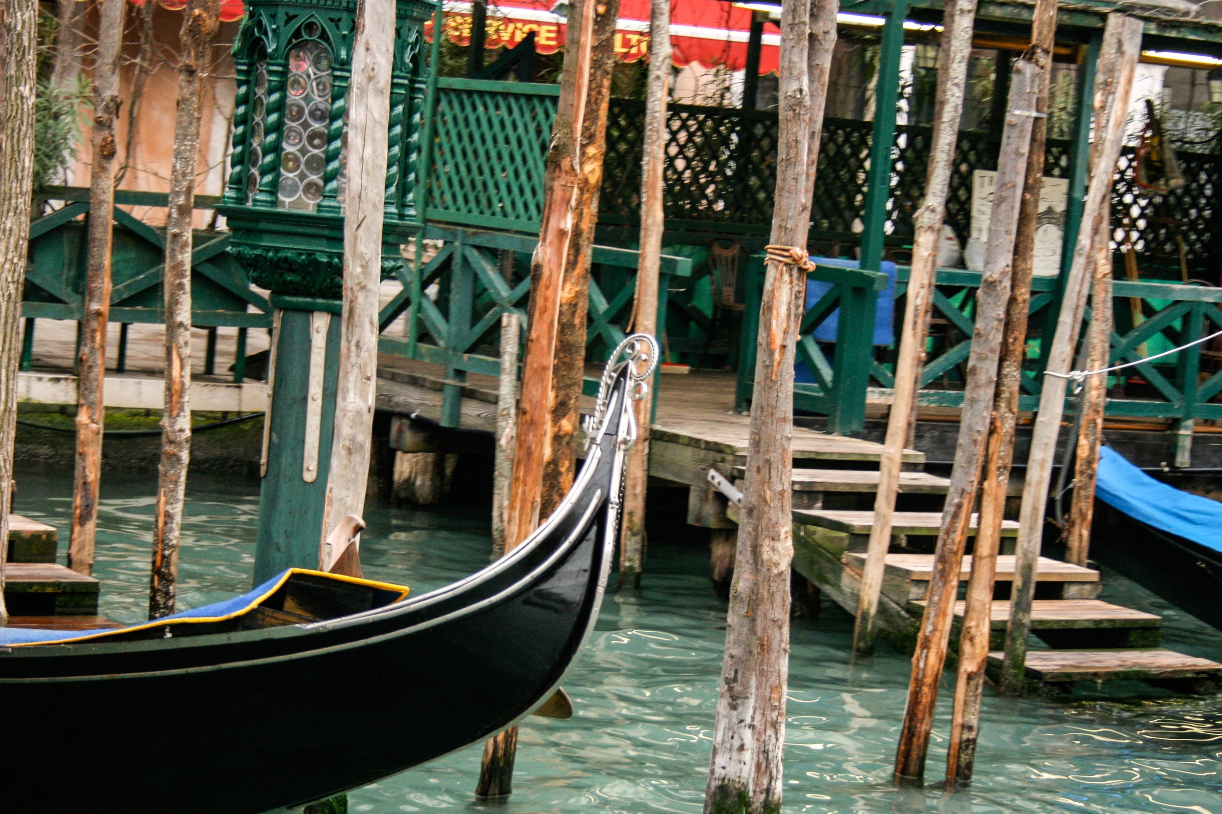 Gondolas tied up on the Grand Canal