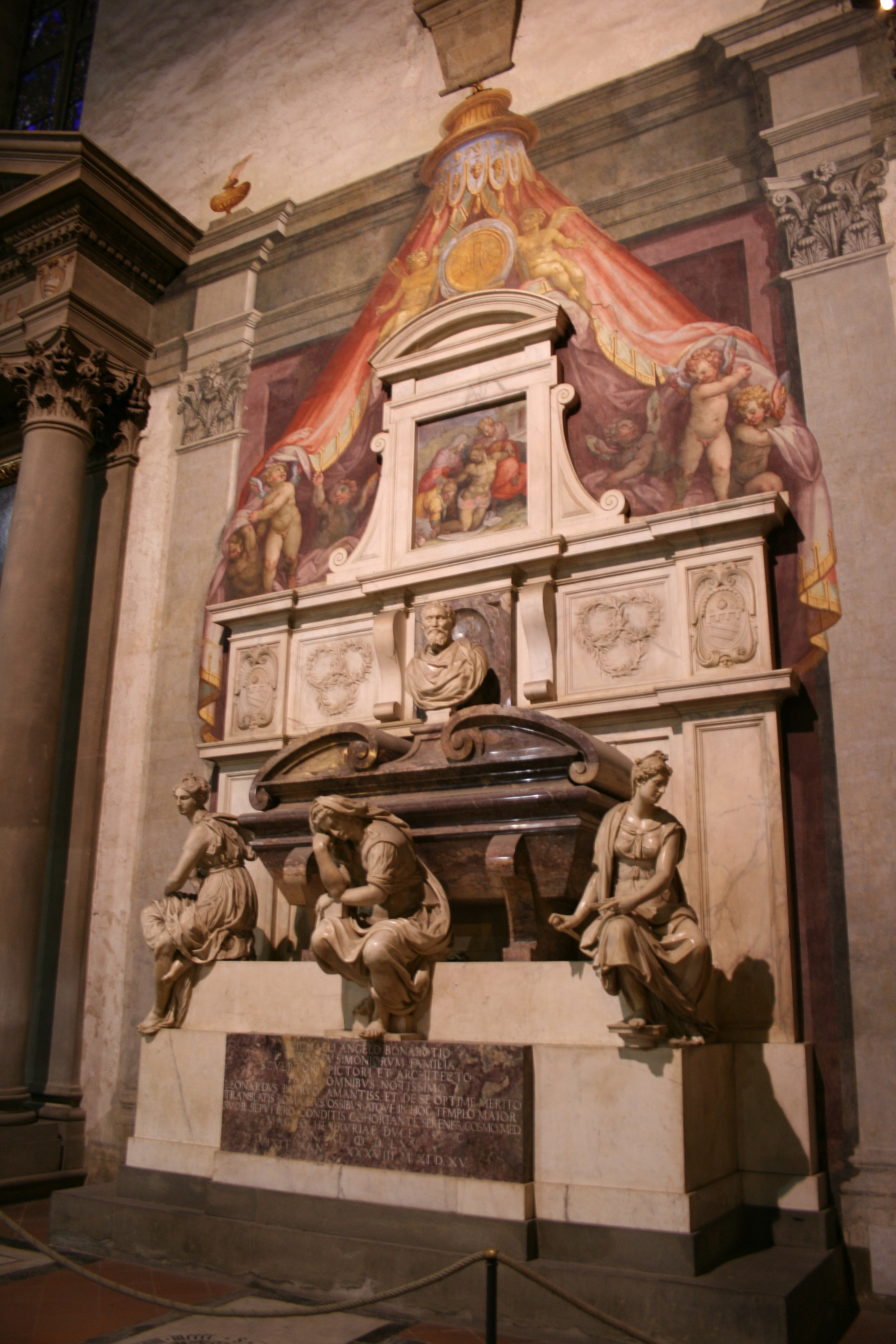 Michelangelo's tomb at Santa Croce in Florence, his home church