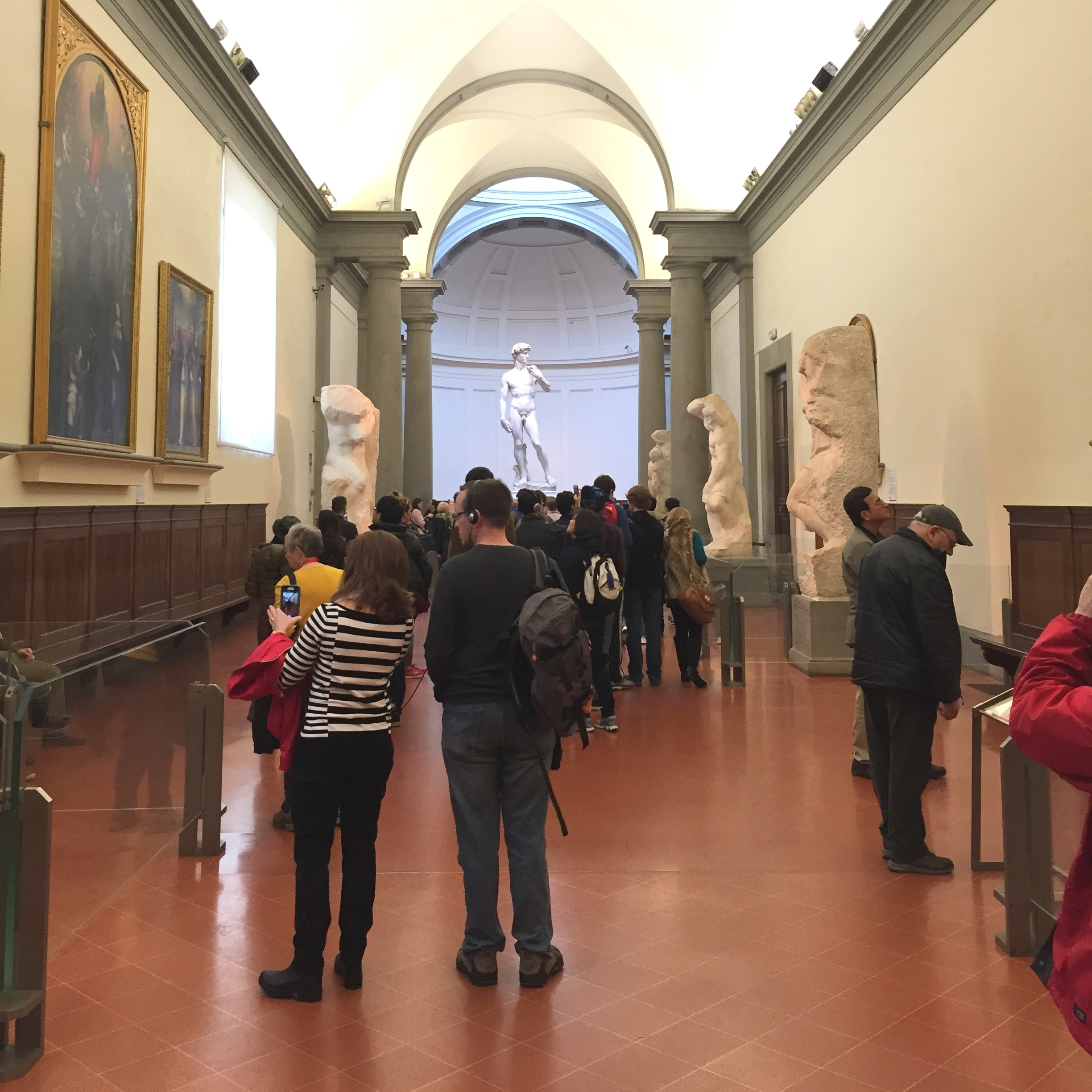 Michelangelo's Captives and David at the Academy in Florence