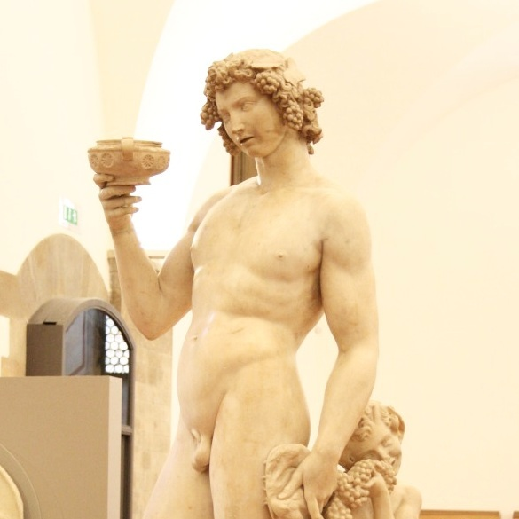 A drunken Bacchus by Michelangelo at the Bargello in Florence