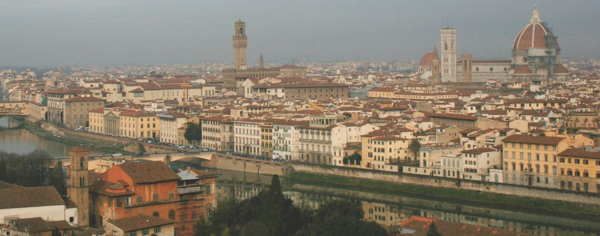 The view of Florence from the Piazzale Michelangelo — gorgeous even on a stormy day