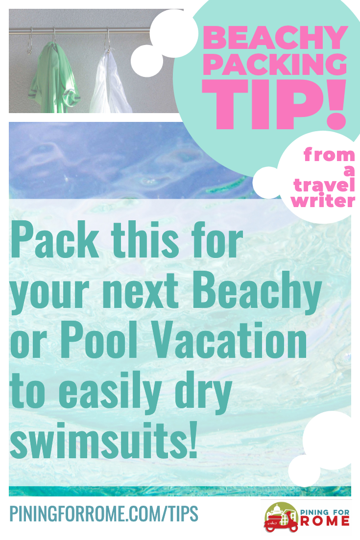 This travel packing tip is easy on the budget and great for anyone headed to the beach or the pool with kids, teens, or just on your own. Great for international and cruise travel, too. Take this small, cheap item in your carryon or suitcase. I've used it in Italy, Hawaii, Belize, and all over the USA. It is one of my best travel tips, and once you throw it in your bag, you'll be shocked at how often you will use it!