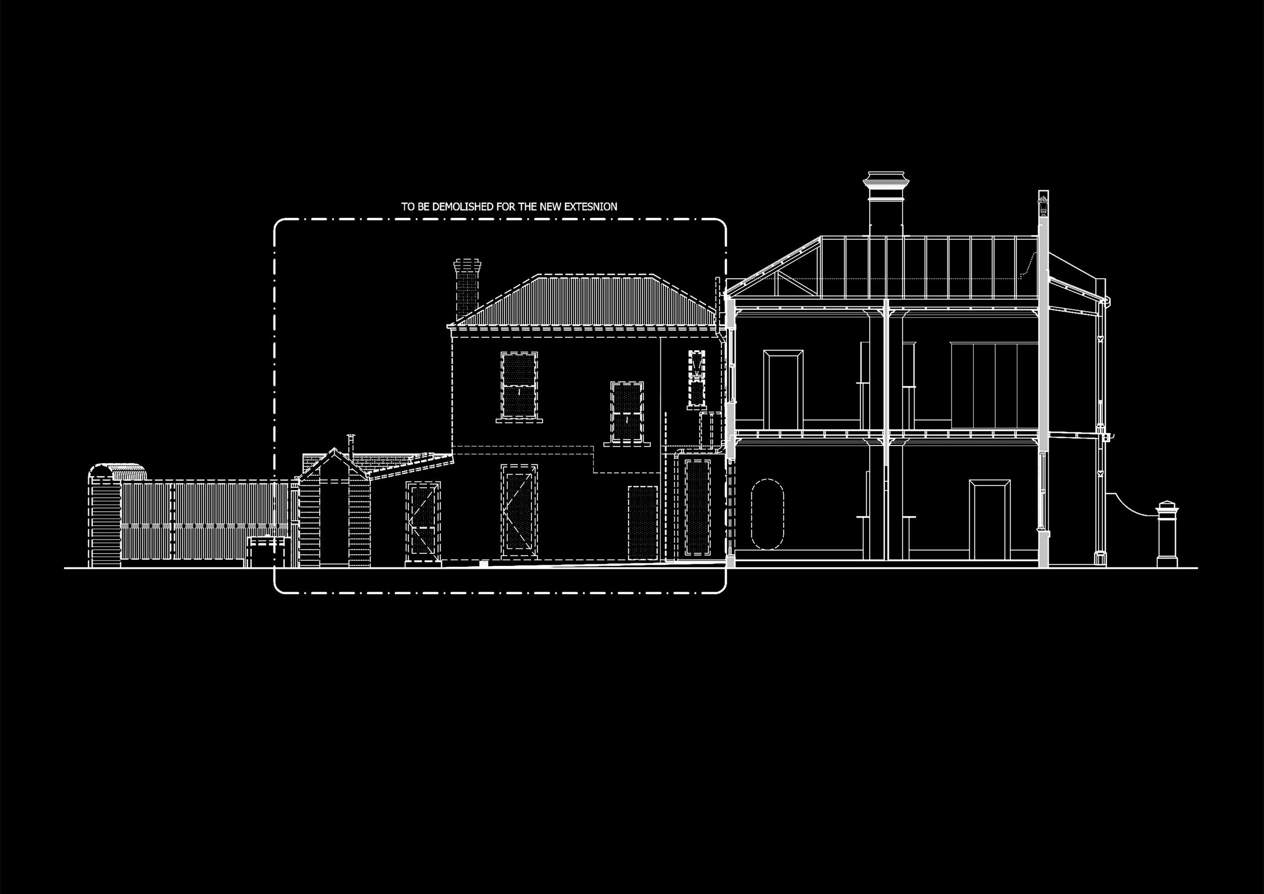 EXISTING SECTION AND PROPOSED DEMOLITION OF ALBERT PARK RESIDENCE IN MELBOURNE