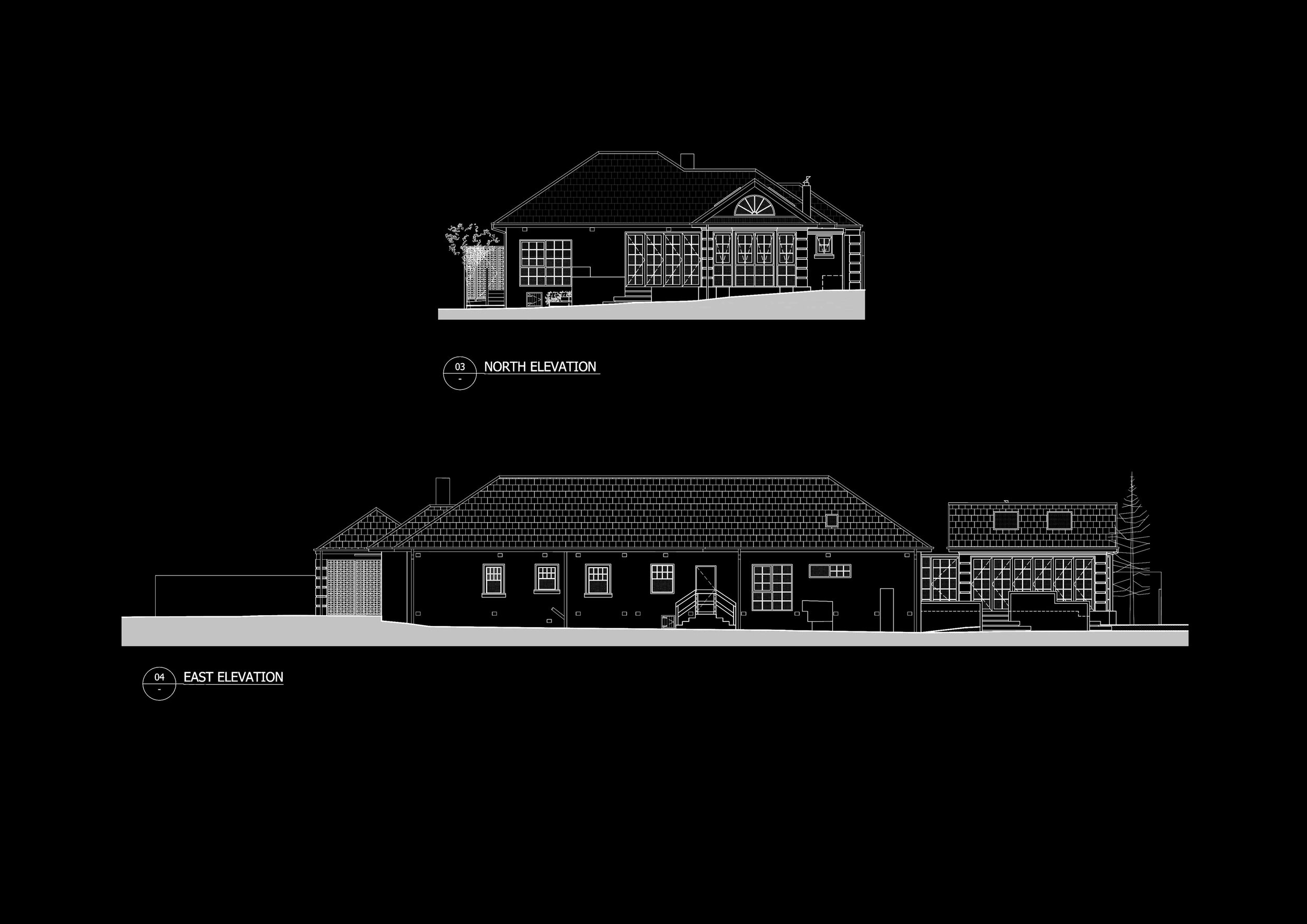 EXISTING CONDITION INCLUDING THE NEW PAVILION ELEVATIONS