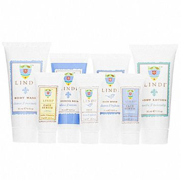 Starter kit from Lindi Skin. Perfect for trial or travel, these formulas keep skin in tip-top shape. Face Wash (.5 fl oz) Face Serum Citrus (.25 fl oz) Face Serum Lavender (.25 fl oz) Face Moisturizer (.25 fl oz) Soothing Balm (.5 fl oz) Body Wash (1 fl oz) Body Lotion (1 fl oz)