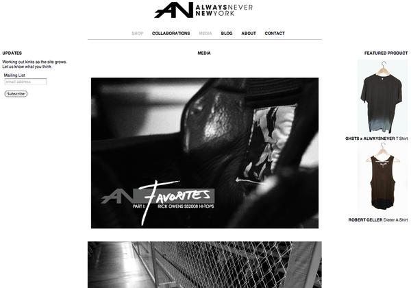 ALWAYSNEVER NY Webdesign
