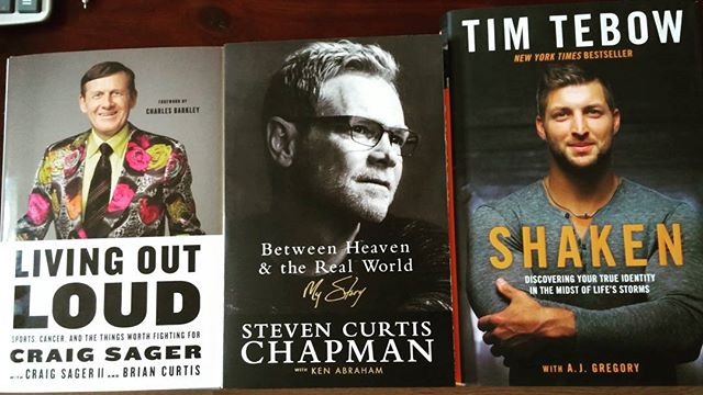 Picked up a few books at Chapters yesterday. And I'm really looking forward to reading them. #bookstagram #books #LivingOutLoud #CraigSager #StevenCurtisChapman #Shaken #TimTebow