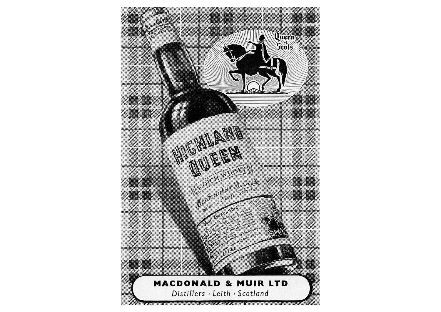 MacDonald & Muir - Macdonald & Muir of Leith, a wine and spirits merchant founded in 1893, produced two more brands famously associated with Leith: Bailie Nichol Jarvie and Highland Queen, the latter a celebration of Mary, Queen of Scot's arrival in Leith in 1561.