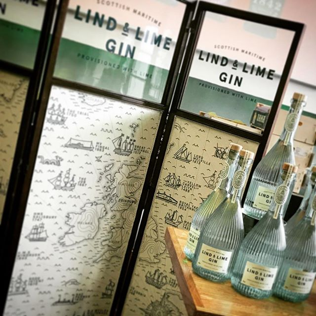 We had great fun at our first gin fair yesterday - thanks for having us @bigbigginfestival - particularly excited to get our @lindandlimegin up-cycled screen out - a collaboration of some unknown Edwardian screen maker, adaptation by @randmbespoke, map by @wearecontagious, upholstery by @miriamstirlingillustration and lettering by @mackinnonslater.  #lindandlime #leithdistillery #gin #scottishgin #gintonic #upholstery #maps #antiques