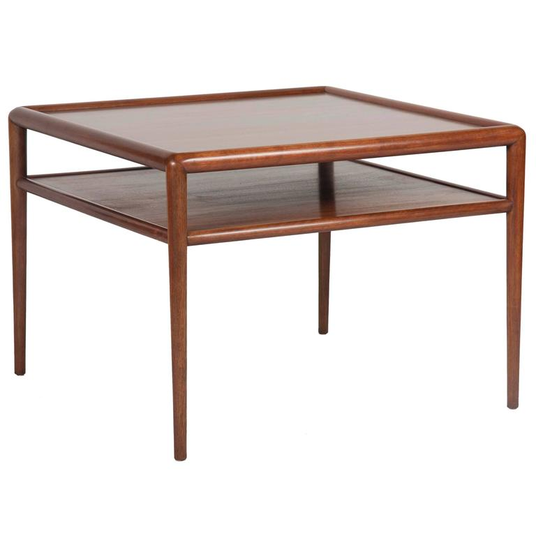 Two-Tier T.H. Robsjohn-Gibbings Walnut Side Table