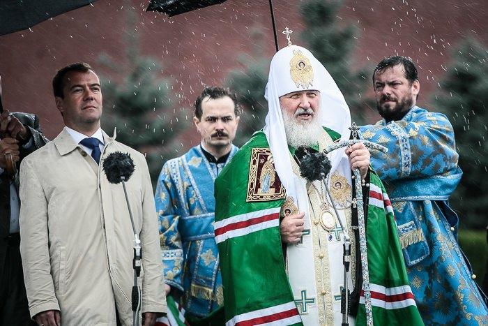 Президент Д.А.Медведев и Патриарх Кирилл на открытии киота Спасской Башни