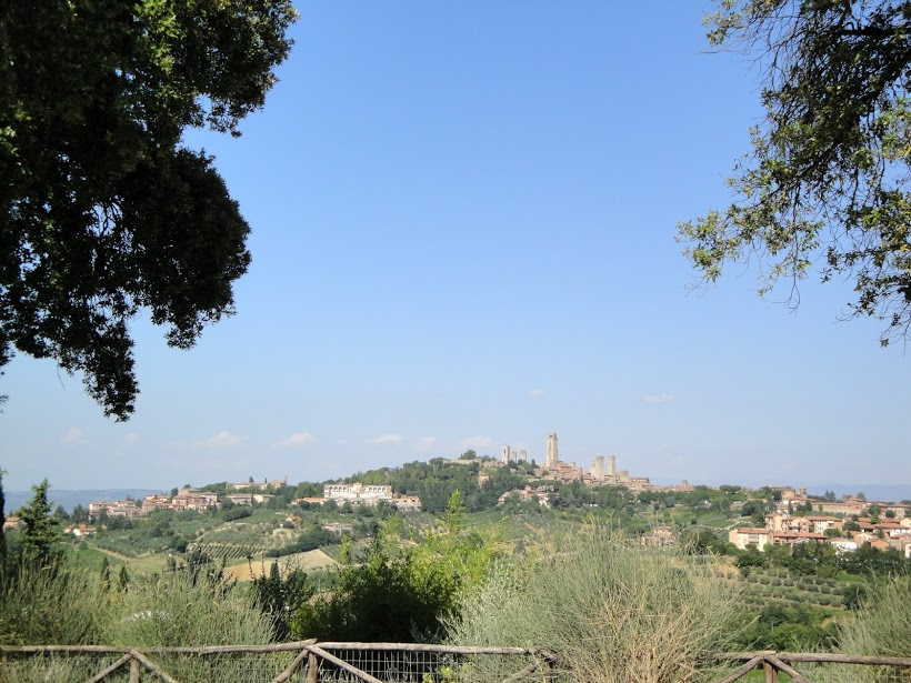 View from an olive grove we picnicked in toward San Gimignano
