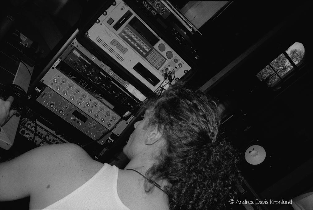 Lati tweaking samples on the S-1000 at Arthur Baker's Shakedown Studios in New Jersey, 1993.