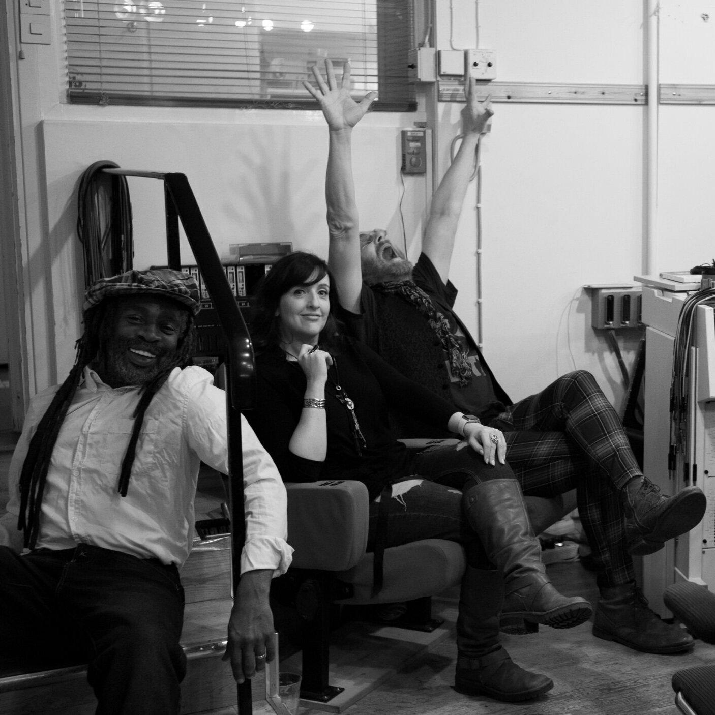 Desmond Foster, Anna Brooks and Lati Kronlund at Atlantis Studios.