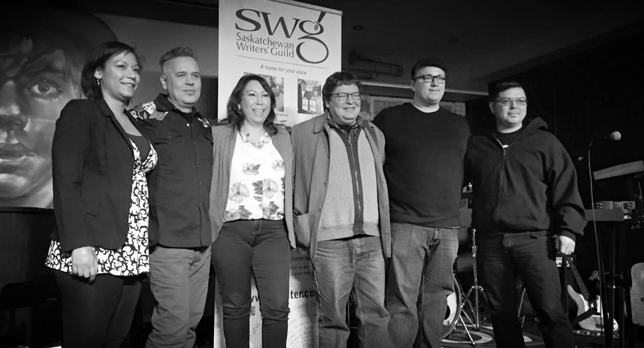 Pictured (L-R): Dominga J. Robinson (Aboriginal Program Coordinator - SWG), Kevin McKenzie, Dr. Shauneen Pete, Jesse Barber, Ryan McMahon & Adam Martin (Artistic Director, Sakewewak)  Photo Courtesy: Michelle Brownridge, SaskCulture