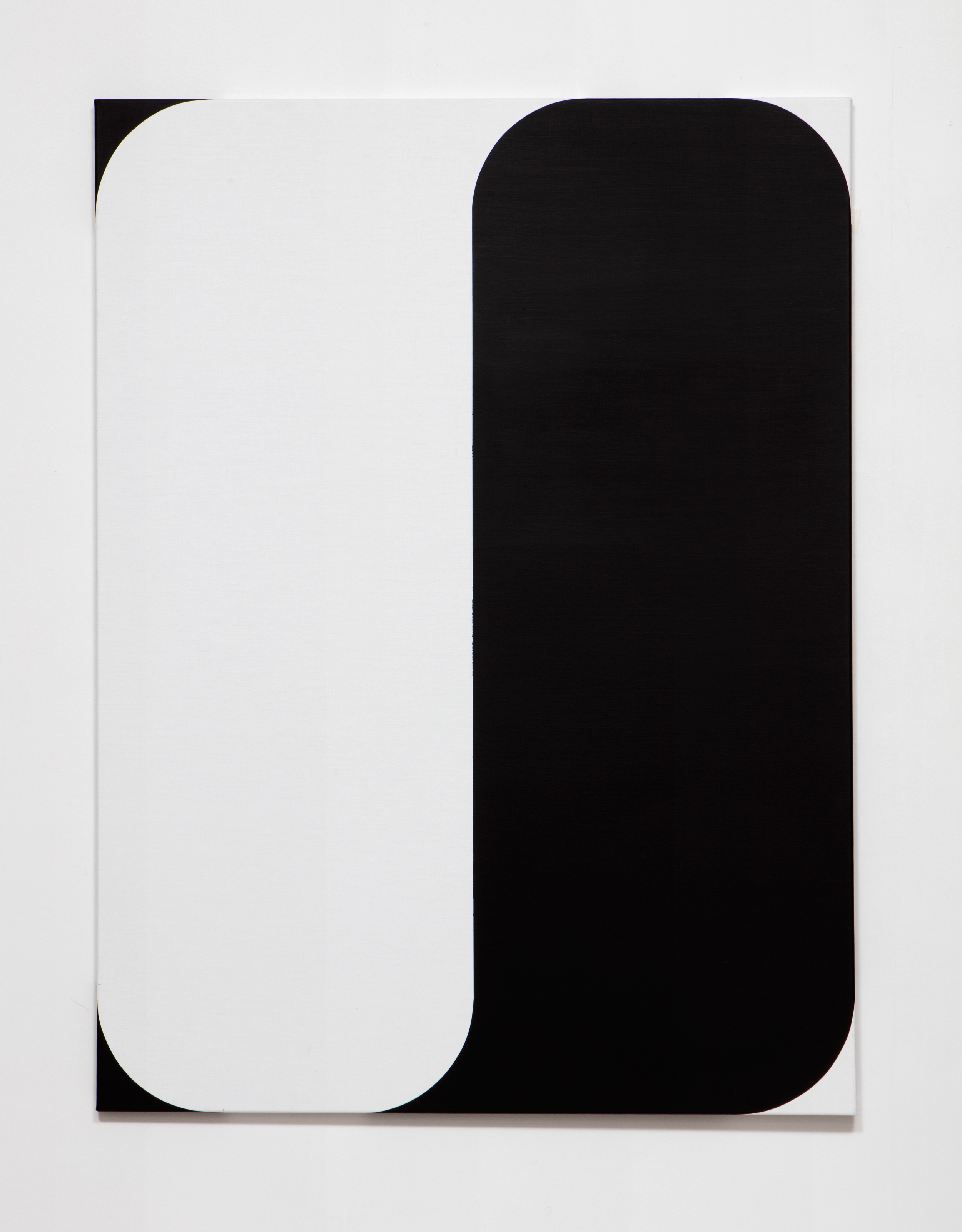 SLATE: [As] Image No. 3 (white and black)  , 2015 Rustoleum enamel on pre-fabricated linen stretcher 48 x 36 inches