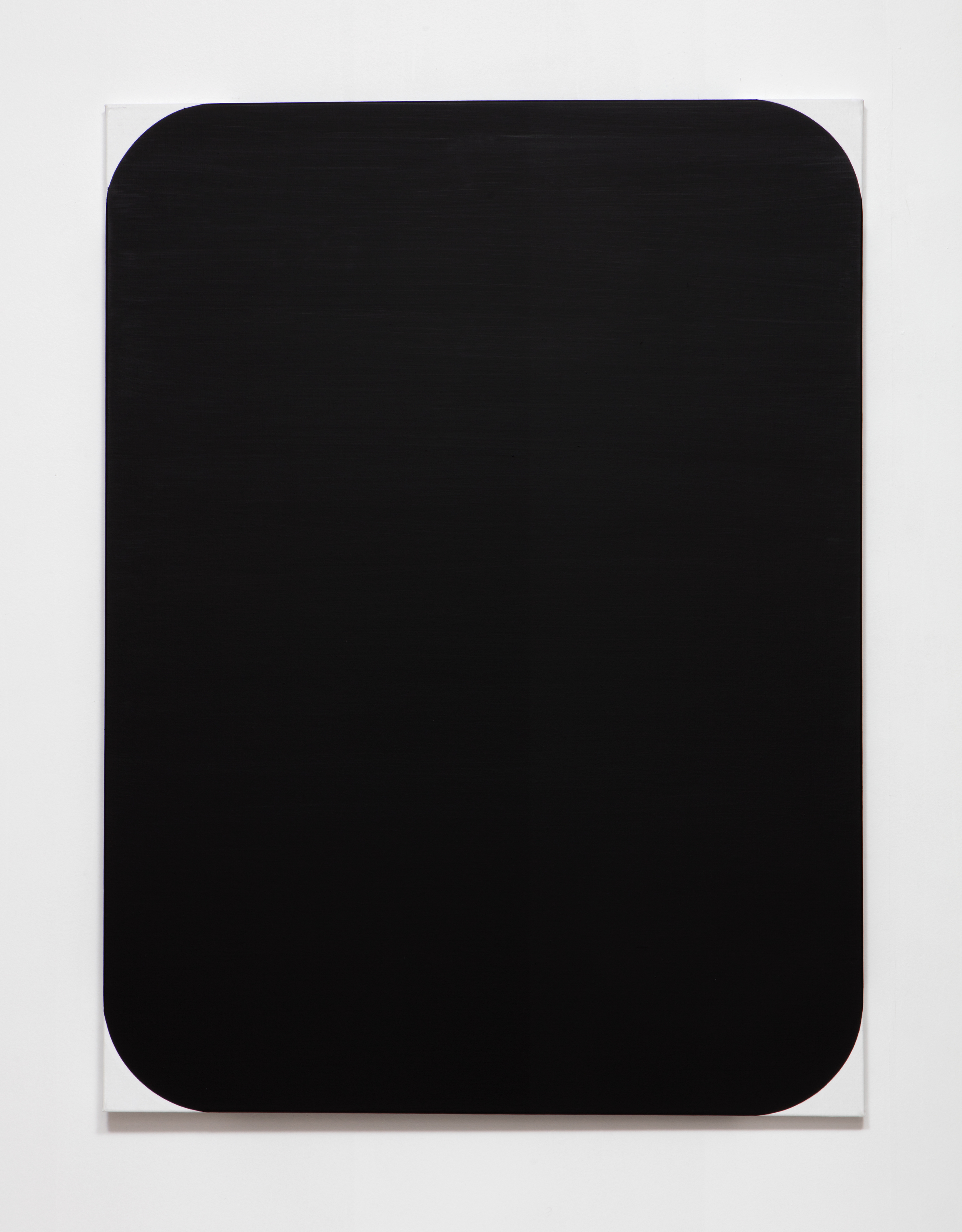 SLATE: [As] Image No. 2 (black on white)  , 2015 Rustoleum enamel on pre-fabricated linen stretcher 48 x 36 inches