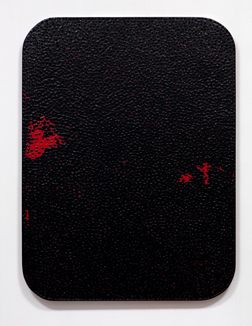 SLATE: Dip Painting No. 3 (1b, 1r, 1b)  , 2015 Valspar Reserve Semi-Gloss Interior Paint, Valspar Signature Satin Interior Painting and Dipping on custom panel 48 x 36 inches