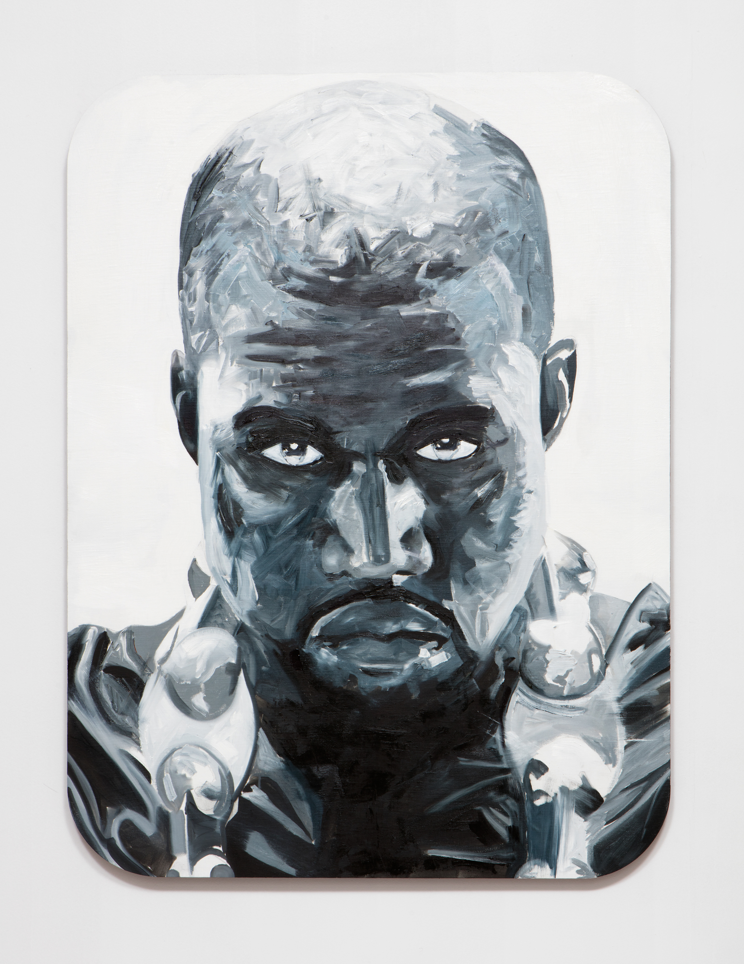 SLATE: Kanye Painting No. 3  , 2015 Oil, Golden acrylic, and sepia ink on linen stretched over custom panel 48 x 36 inches