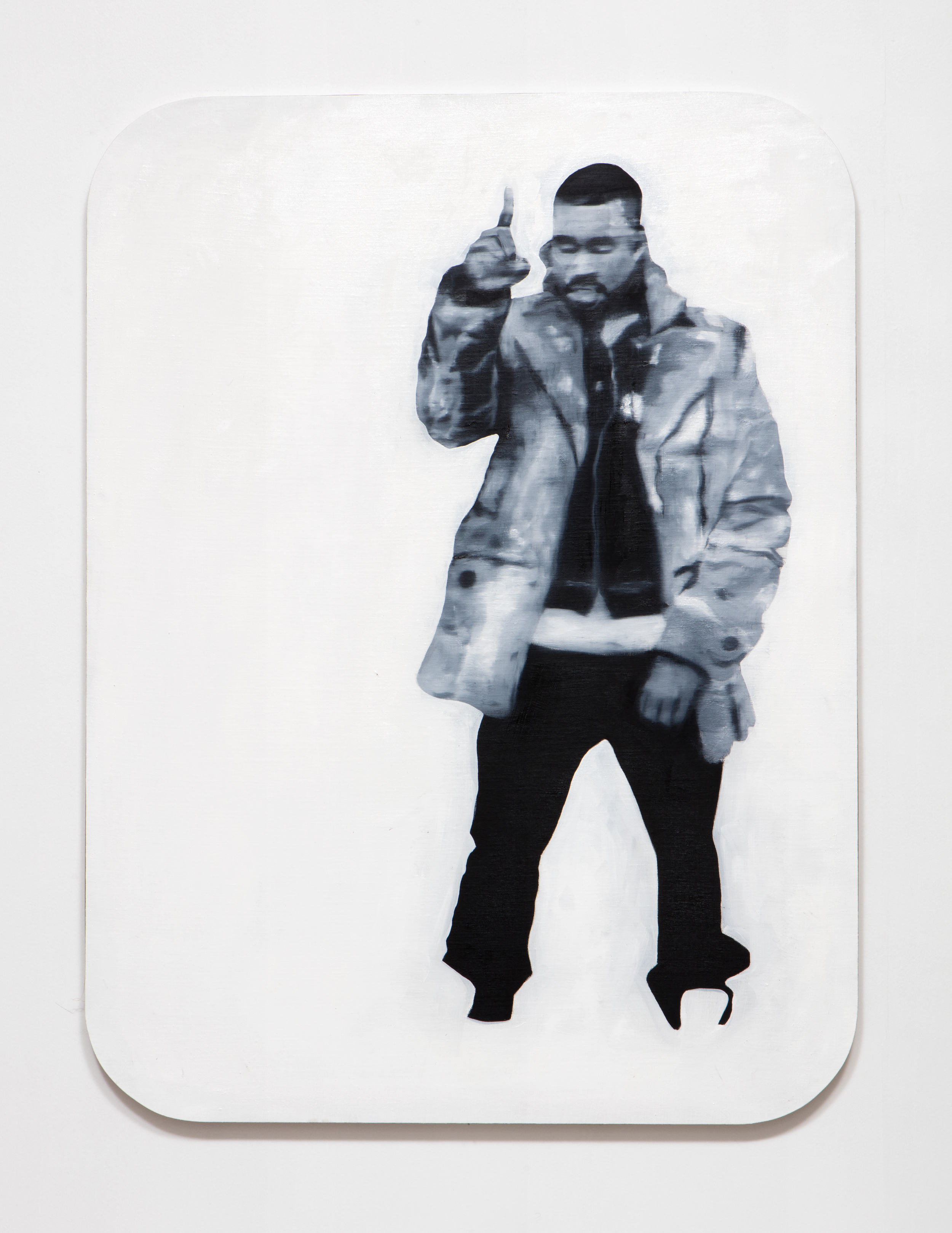 SLATE: Kanye Painting No. 2 (after Richter)  , 2015 Oil, Golden acrylic, and sepia ink on linen stretched over custom panel 48 x 36 inches