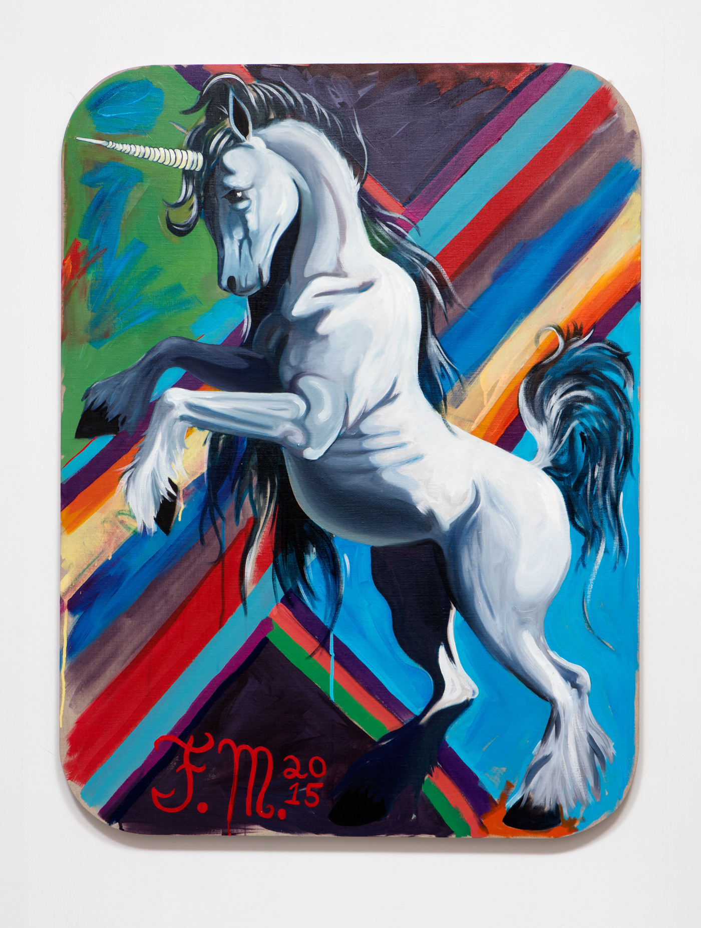 SLATE: Unicorn Painting No. 3 (Erin Cluley – Fern Blue Lady)  , 2015 Oil and Golden acrylic on linen stretched over custom panel 48 x 36 inches