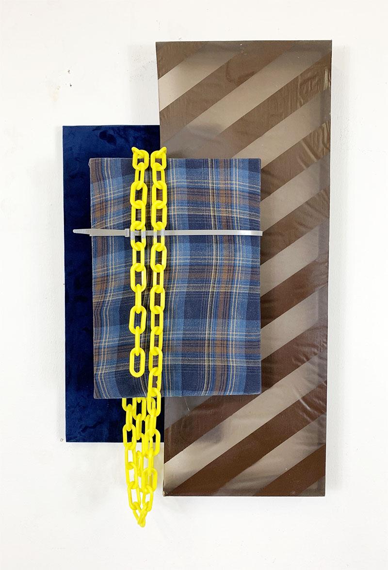 When world collide  2018  Acrylic Paint, Epoxy Resin, Chain, Flannel, Zip Tie  24 in x 36 in x 8 in
