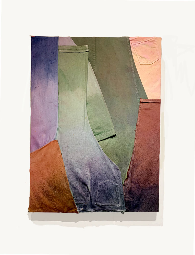 Shameful Company  2019  Jeans, Pigment Die, on Canvas  40 in x 30 in x 3 in
