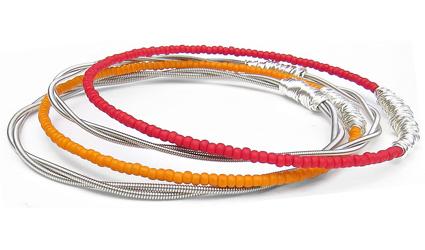 seed-bead-bracelet-set-red-orange-silver