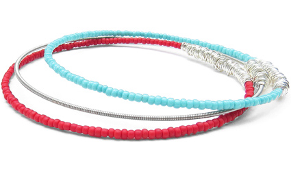 silver-turquoise-red-beaded-bracelets