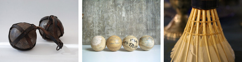 Petanque balls  from French Touch Boutique //  Softball collection  from The Artifactory Studio //  Vintage shuttlecocks  from The Great Mish Mosh