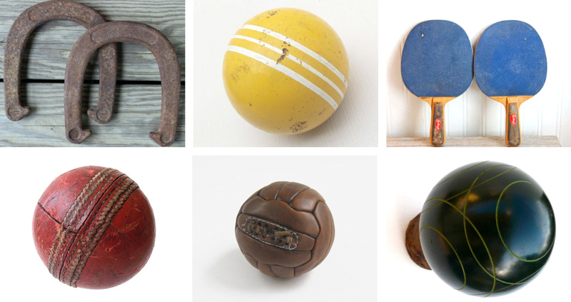 Royal St. Pierrhorse shoes from Reneux // Vintage croquet ball from Broken Arrow Vintage // Vintage ping pon paddles from Molly Finds // Vintagecricket ball from CuriosAnCollectibles // Antiquefootball from English Country Home // Bocce ball from My Other Foot's Laughing