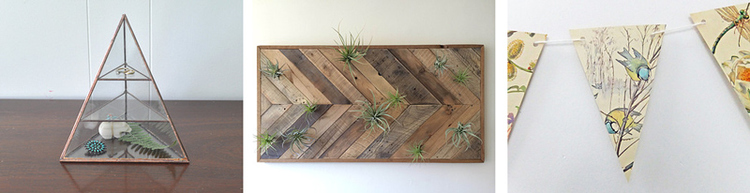 10. Lyra pyramid display box by ABJ Glassworks //11. Reclaimed barn wood chevron wall panel by triple7recycled //12. Eco-friendly paper garland by Peony and Thistle