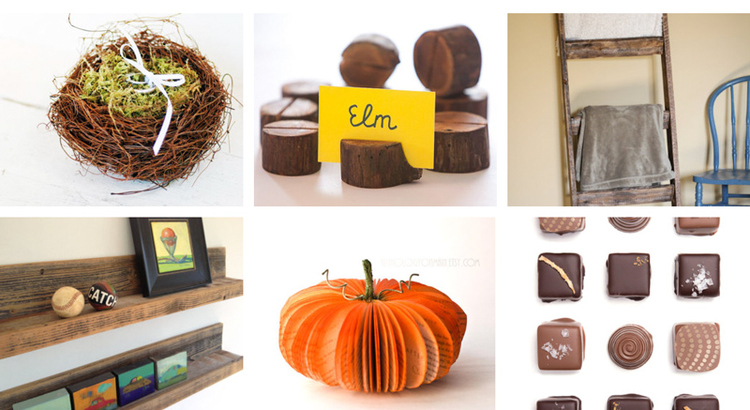 13. Ring bearer nest   by white tulip boutique //   14. Rustic place card holders by Card Holder Shop //  15. Wood blanket ladder by Halleywood Creations //  16. Rustic wood shelves by reVetro //  17. Pumpkin decoration by Anthology On Main //  18. Organicchocolate by Cocoa and Honey