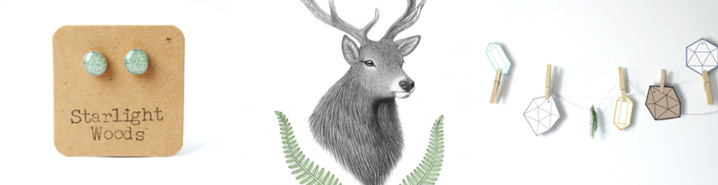 46. Eco-friendly stud earrings by Starlight Woods //47. Deer art print by Miki Tillett //48. Gem gift tags by Bueno Market