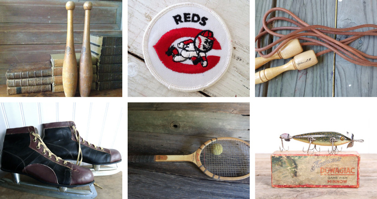 Antiquejuggling batons from Jans Vintage Stuff // Cincinnati Red patch from Crafty Little Bee // Muhammad Ali leather jumprope byKatieVTG // Vintage men's ice skates from Brightwood Lane // Bancroft tennis racket from Willoughby Lane // Antique wooden fishing lure from Vintage 05