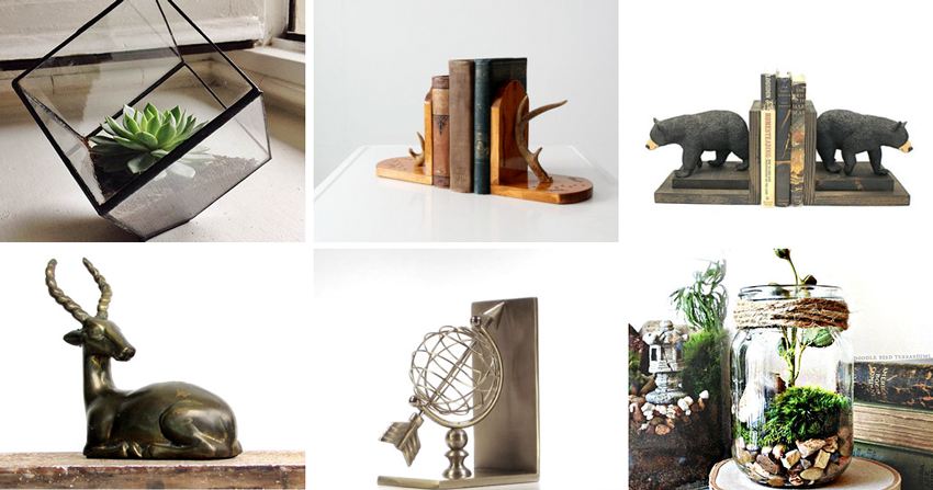 4.  Terrarium  by  BeastOfSlumber  // 5.  Vintage bookends  by  IronCharlie  // 6.  Bear bookends  by  EclecticForest   // 7  .  Vintage figurine bookend  from  WhatNotsToLove  // 8.  Vintage bookends  from  TheVintageDecorator   // 9.  Mason jar terrarium  by  DoodleBirdie