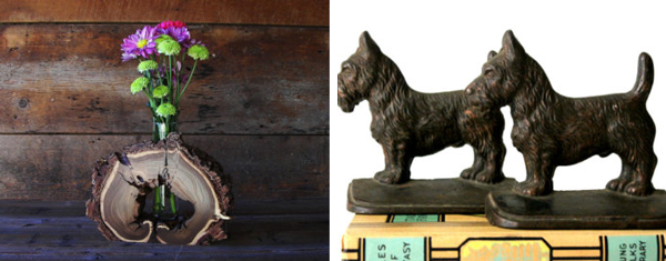 10.  Wood slice vase  by  TheRusticNature   11.  Vintage dog bookends  from  vintagearcheology