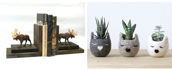 12.  Moose bookends  by  EclecticForest   // 13.  Felt plant holders  by  theYarnKitchen
