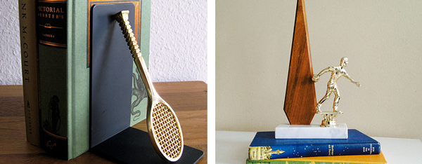 51.  Tennis racket bookend  from  MarketHome   52.  Retro bowling trophy  from  aHintOfMUSTARD