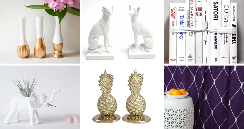 32.  Gold dipped vases  by  NellieFellow  //33.  Animal figurines  by  WhiteFauxTaxidermy  // 34.  Book collection  from  StevesBookDecor  //   35.  Elephant planter  by  PlantandColor  // 36.  Pineapple bookends  from  HarpersFlea  // 37.  Drapes  by  TheFabricAffair