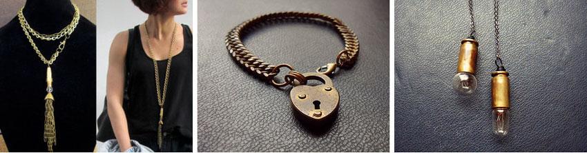 Statement necklace by  LogicFreeDesign //  Antique padlock bracelet by   opulentoddities //  Light bulb necklace by  opulentoddities