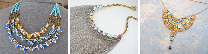 Ethnic statement necklace  by  mhandmade //  Mixed metal fringe necklace  by  ToucanSmile //  Cleopatra collar necklace  by  jessamity